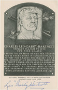Baseball Collectibles:Others, Gabby Hartnett Signed White Hall of Fame Plaque....