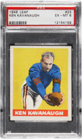 "Football Cards:Singles (Pre-1950), 1948 Leaf Ken Kavanaugh ""Red Stripes on Sleeves"" #23 PSA EX-MT 6 -Extremely Rare Uncatalogued Variation!..."
