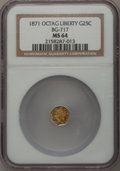 California Fractional Gold: , 1871 25C Liberty Octagonal 25 Cents, BG-717, R.3, MS64 NGC. NGCCensus: (8/13). PCGS Population (62/72). (#10544)...