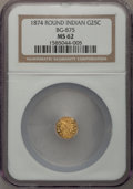 California Fractional Gold: , 1874 25C Indian Round 25 Cents, BG-875, High R.4, MS62 NGC. NGCCensus: (2/4). PCGS Population (6/55). (#10736)...
