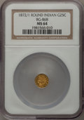 California Fractional Gold: , 1872/1 25C Indian Round 25 Cents, BG-868, High R.4, MS64 NGC. NGCCensus: (3/4). PCGS Population (13/19). (#10729)...