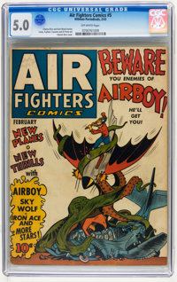 Air Fighters Comics #5 (Hillman Fall, 1943) CGC VG/FN 5.0 Off-white pages