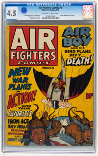 Air Fighters Comics #6 (Hillman Fall, 1943) CGC VG+ 4.5 Off-white to white pages