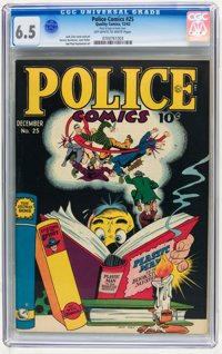 Police Comics #25 (Quality, 1943) CGC FN+ 6.5 Off-white to white pages