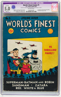World's Finest Comics #5 (DC, 1942) CGC Apparent VG/FN 5.0 Slight (P) Off-white pages