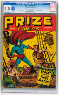 Prize Comics #16 (Prize, 1941) CGC VG/FN 5.0 Off-white to white pages