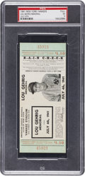 Baseball Collectibles:Tickets, 1941 Lou Gehrig Memorial Full Ticket PSA EX 5....