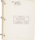 Transportation:Space Exploration, Apollo 10 Flown CSM Systems Data Checklist Directly From the Personal Collection of Mission Command Module Pilot J...