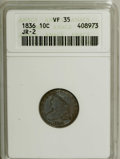 Bust Dimes: , 1836 10C VF35 ANACS. JR-2. NGC Census: (2/160). PCGS Population(5/142). Mintage: 1,190,000. Numismedia Wsl. Price for NGC/...