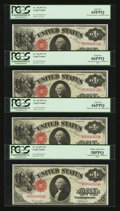 Large Size:Legal Tender Notes, Fr. 36 $1 1917 Legal Tender Cut Sheet of Four PCGS Gem New 66PPQ, 66PPQ, 65PPQ, and 58PPQ.... (Total: 4 notes)