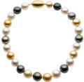 Estate Jewelry:Necklaces, Multi-Color South Sea Cultured Pearl, Gold Necklace. ...