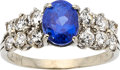 Estate Jewelry:Rings, Burmese Sapphire, Diamond, White Gold Ring. ...