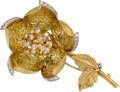Estate Jewelry:Brooches - Pins, Diamond, Platinum, Gold Clip-Brooch, Hammerman Bros.. ...