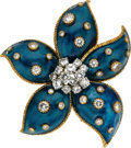 Estate Jewelry:Brooches - Pins, Diamond, Enamel, Gold Clip-Brooch, Van Cleef & Arpels, French....