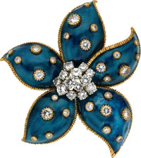 Diamond, Enamel, Gold Clip-Brooch, Van Cleef & Arpels, French