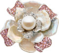 Estate Jewelry:Rings, Cultured Pearl, Pink Sapphire, Diamond, Freshwater Pearl, WhiteGold Ring. ...