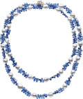 Estate Jewelry:Necklaces, Baroque South Sea Cultured Pearl, Kyanite, White Gold Necklace. ...