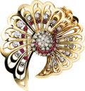 Estate Jewelry:Brooches - Pins, Retro Diamond, Ruby, Gold Pendant-Clip-Brooch, circa 1940. ...