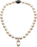 Estate Jewelry:Necklaces, South Sea Cultured Pearl, Diamond, Platinum, Gold Necklace. ...