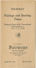 Golf Collectibles:Miscellaneous, 1925 US Open Pairing Sheet....