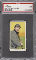 Baseball Cards:Singles (Pre-1930), 1909-11 T206 Sweet Caporal Ty Cobb, Bat On Shoulder PSA EX 5....