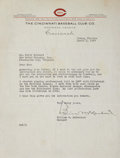 Autographs:Letters, 1939 Bill McKechnie Signed Letter....