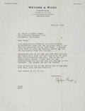 Autographs:Letters, 1942 Eppa Rixey Signed Letter....