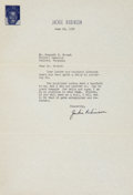 Autographs:Letters, 1949 Jackie Robinson Signed Letter....