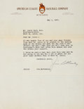 Autographs:Letters, 1937 Jim Bottomley Signed Letter....