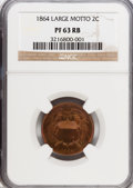 Proof Two Cent Pieces, 1864 2C Large Motto PR63 Red and Brown NGC. NGC Census: (9/68).PCGS Population (9/66). Mintage: 100. Numismedia Wsl. Price...