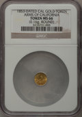 "California Gold Charms, ""1853"" Arms of California Gold Token MS66 NGC. Round, 0.16gm...."