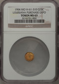 Expositions and Fairs, 1904 Louisiana Purchase Exposition, 1/4 Gold, 10 Stars, MoH-61-310, MS63 NGC....