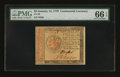 Colonial Notes:Continental Congress Issues, Continental Currency January 14, 1779 $2 PMG Gem Uncirculated 66 EPQ....