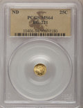 California Fractional Gold: , Undated 25C Liberty Round 25 Cents, BG-221, R.3, MS64 PCGS. PCGSPopulation (40/3). NGC Census: (4/1). (#10406)...