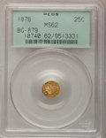California Fractional Gold: , 1876 25C Indian Round 25 Cents, BG-879, R.4, MS62 PCGS. PCGSPopulation (14/56). NGC Census: (0/16). (#10740)...