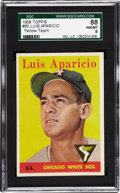 Baseball Cards:Singles (1950-1959), 1958 Topps Luis Aparicio, Yellow Team #85 SGC 88 NM/MT 8....