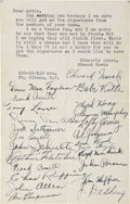 Autographs:Others, 1934 New York Yankees Team Signed Sheet....
