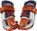 Hockey Collectibles:Equipment, 1986-87 Wayne Gretzky Stanley Cup Finals Game Worn Gloves - PerfectPhotomatch!...