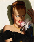 Mainstream Illustration, ROBERT G. HARRIS (American, 1911-2007). Girl with an Orchid.Oil on canvas. 14 x 12 in.. Signed upper left. ...