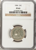Proof Seated Quarters: , 1884 25C PR63 NGC. NGC Census: (41/167). PCGS Population (58/137).Mintage: 875. Numismedia Wsl. Price for problem free NGC...