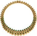 Estate Jewelry:Necklaces, Diamond, Emerald, Gold Necklace, Neiman Marcus, French. ...