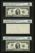 Error Notes:Blank Reverse (100%), Fr. 1935-H $2 1976 Federal Reserve Notes. Three ConsecutiveExamples. PMG Choice Uncirculated 63 EPQ.. ... (Total: 3 notes)