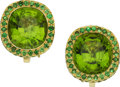 Estate Jewelry:Earrings, Peridot, Tsavorite Garnet, Gold Earrings, Laura Munder. ... (Total:2 Items)