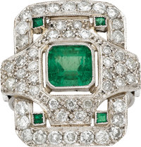 Emerald, Diamond, Platinum Ring
