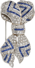 Estate Jewelry:Brooches - Pins, Diamond, Sapphire, Platinum Brooch. ...