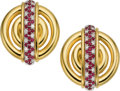 Estate Jewelry:Earrings, Ruby, Diamond, Gold Earrings, A. Cipullo, Cartier. ... (Total: 2Items)