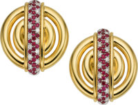 Ruby, Diamond, Gold Earrings, A. Cipullo, Cartier