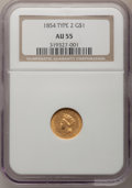 Gold Dollars: , 1854 G$1 Type Two AU55 NGC. NGC Census: (798/3581). PCGS Population(524/1662). Mintage: 783,943. Numismedia Wsl. Price for...