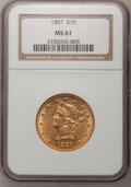 Liberty Eagles: , 1887 $10 MS61 NGC. NGC Census: (51/19). PCGS Population (16/27).Mintage: 53,680. Numismedia Wsl. Price for problem free NG...