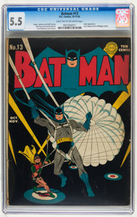 Batman #13 (DC, 1942) CGC FN- 5.5 Light tan to off-white pages